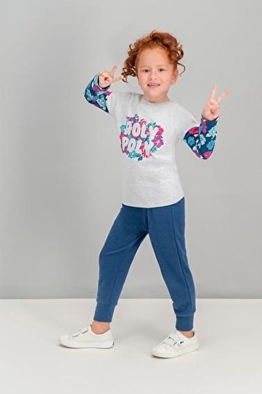 Roly Poly  Flowers Krem Kız Çocuk Pijama Takımı Gri